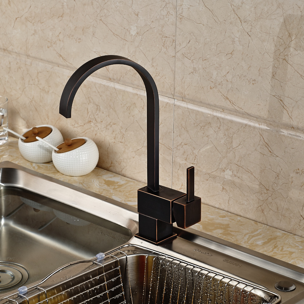 Contemporary Oil Rubbed Bronze Swivel Spout Kitchen Faucet Single Lever Single Hole Mixer Tap svs pc12 plus