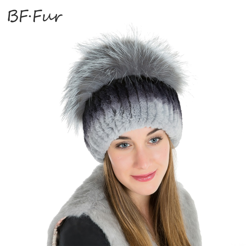 BFFUR Rabbit Fur Hat Natural Rex Rabbit Fur Hat With Fox Fur Pom Poms Top Knitted For Women Winter Beanies Fur Hats BF-M0013 2017 winter fur hat female rex rabbit fur hat with fox fur pom poms fur knitted beanies fashion high quality caps for women hats