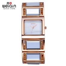 WEIQIN Lujo Hardlex Espejo de Oro Correa de Pulsera Relojes de la Mujer Colorida Shell Dial Square Reloj Dama de La Moda Relogio Feminino