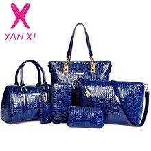 3 en 1 de Moda de lujo diseñador crocodile PU leather Satchel Tote + Hombro/Mensajero + Embragues bolsas compuestas marca bolsos conjunto