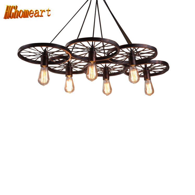 HGhomeart Retro chandelier Antique wheel chandelier loft America chandelier iron retro restaurant bar cafe master Bedroom lamp continental iron candle chandelier bedroom garden bar restaurant lights retro clothing store america