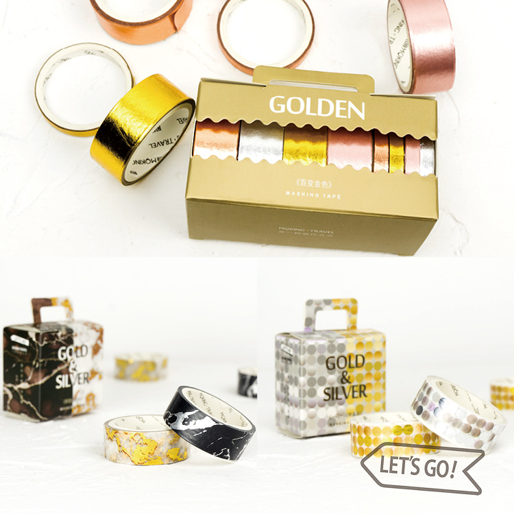 The Golden Season Creative Metal And Marble Fashion Washi Tape Set 15mm*3M,5mm*3M DIY Decoration Supplies Free Shipping diy cute kawaii cartoon 5mm slim washi tape lovely fruit adhesive tape for decoration photo album school free shipping 3454 page 3
