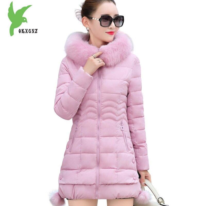 Zimní dámské bavlněné kabáty nové módní s kapucí límec ženy ležérní topy udržujte teplé štíhlé plus velikosti bavlněné bundy OKXGNZ A715