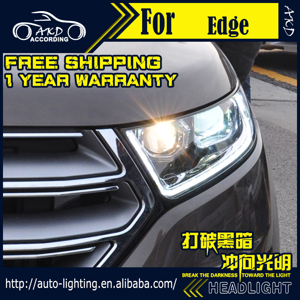 Akd Car Styling Head Lamp For Ford Edge Headlights  New Edge Led Headlight Drl H Dh Hid Option Angel Eye Bi Xenon Beam