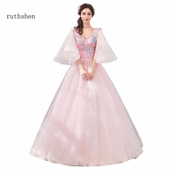 ruthshen Sexy V Neck Prom Dresses With Long Sleeves Pink Tulle Long Party Evening Dress For Special Occasions Ball Gowns 2018