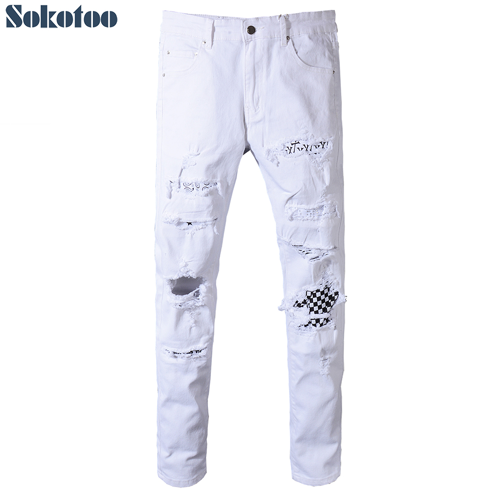 Sokotoo Men's white black plaid patch holes ripped denim jeans Plus size slim fit skinny patchwork stretch pants tommy hilfiger new white navy women s size 16 slim skinny striped jeans $79 394