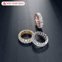 Vecalon Eternity Promise Ring 925 sterling silver Square AAAAA Cz statement Wedding band rings for women men Finger Jewelry Gift