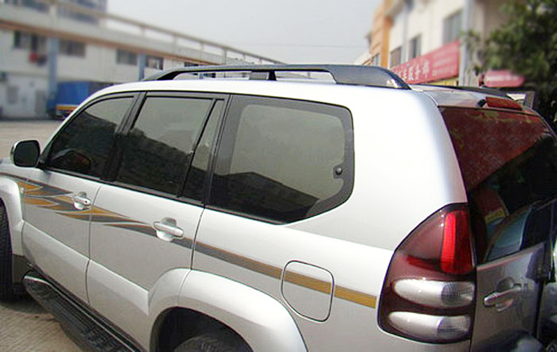 за Toyota Land Cruiser Prado FJ120 J120 FOR Lexus GX470 2003-2009 Алуминиева сплав Черен багажник на покрива