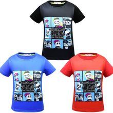 0805b248 DJ marshmello T shirt kids Helmet Marshmallow face Smile Hip Hop Funny  childen Short sleeveTopsmen Printed Tees