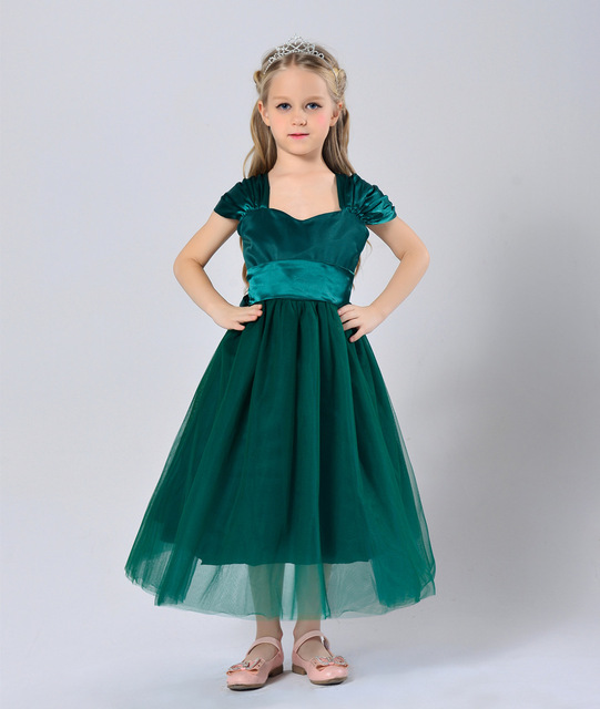New Style Wedding Dresses For Children Princess Satin And Mesh White Purple Emerald Green Party