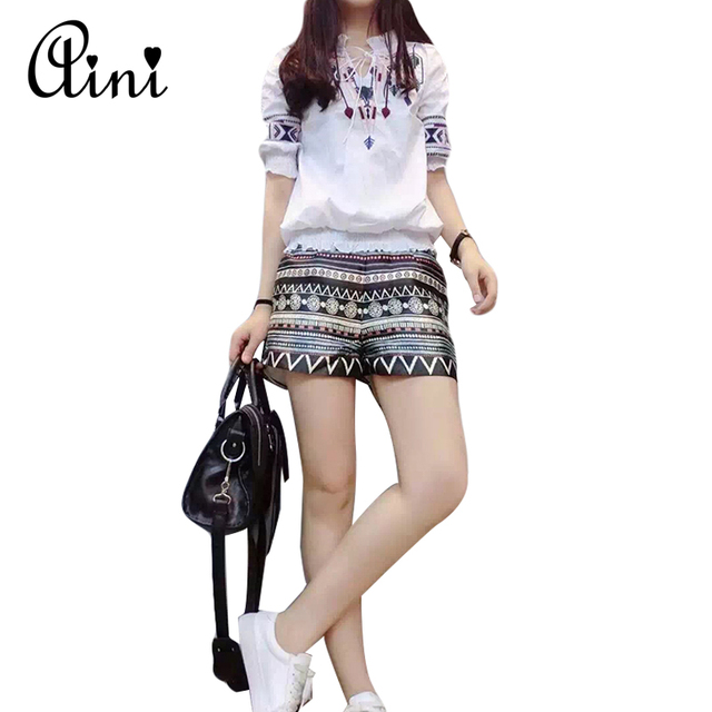 New Summer Women Two Piece Set Short Flare Sleeve Ptinted Cotton Tops and Casual Print Shorts Women Set