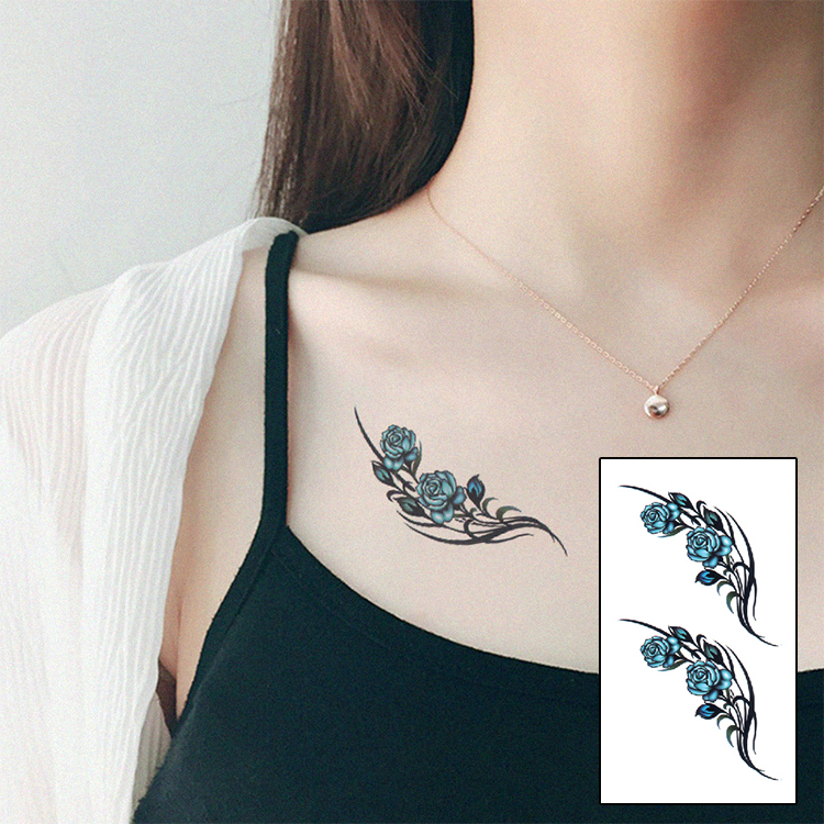 Blue Henna Tattoo: Blue Color Blossom Flower Brand Fashion Waterproof