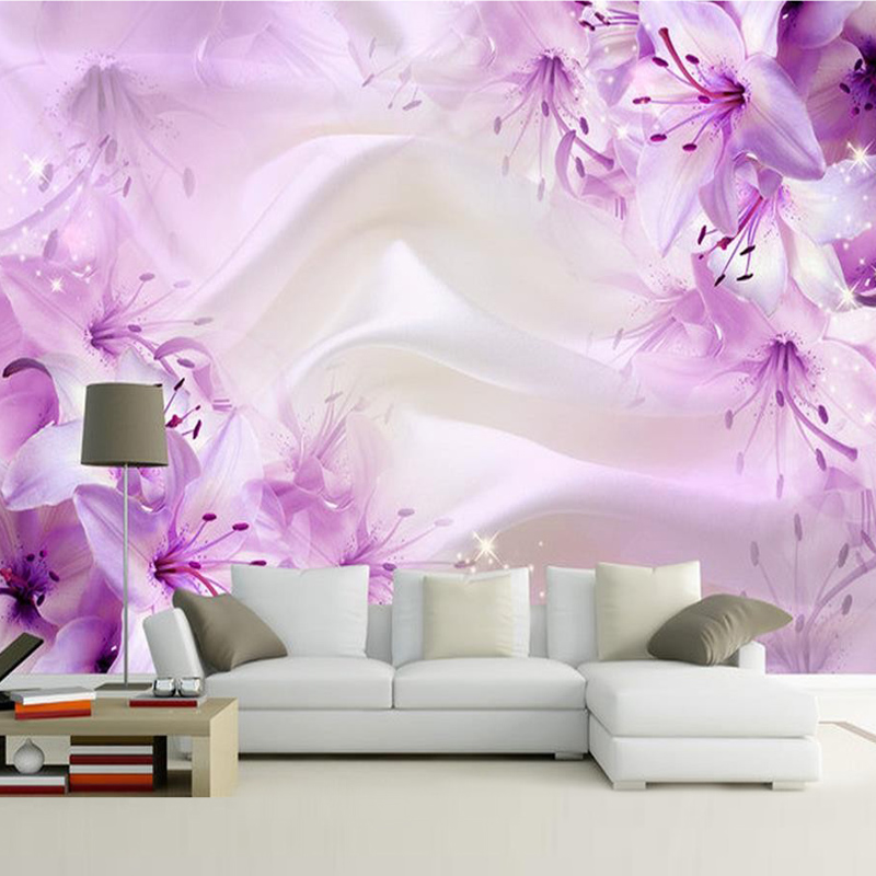 Custom purple flower silk wallpaper living room bedroom - Designer wall paints for living room ...