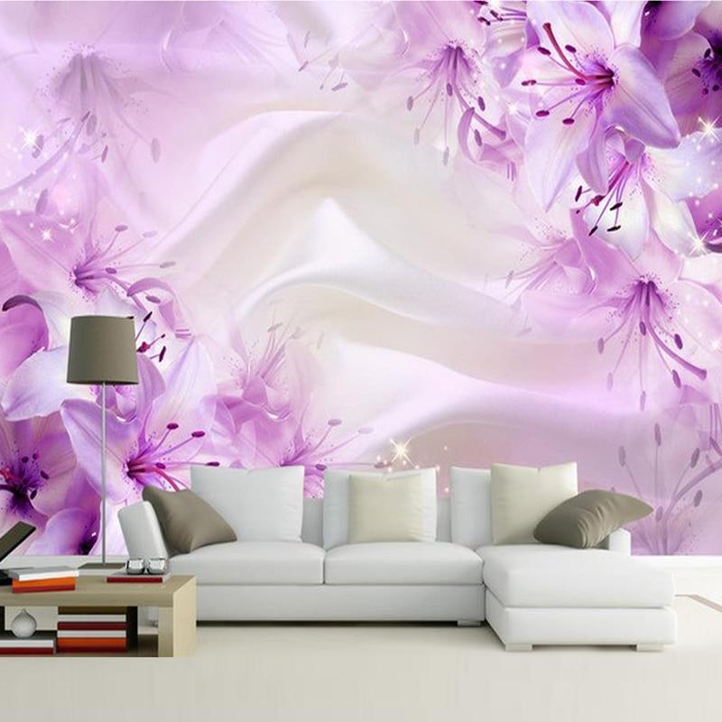 3d Wallpaper Designs For Bedrooms Custom Purple Flower Silk Wallpaper Living Room Bedroom