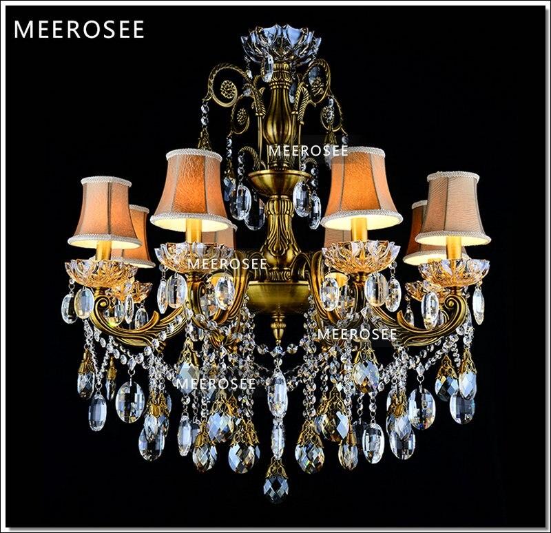 Bronzová povrchová úprava starožitný křišťálový lustr Luxusní mosazné křišťálové svítidlo Luster závěsné světlo MD8504 L8 D750mm H750mm