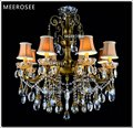 Bronze Finished Antique Crystal Chandelier Lingting Luxurious Brass Crystal Lamp Lustre Suspension Light MD8504 L8 D750mm H750mm