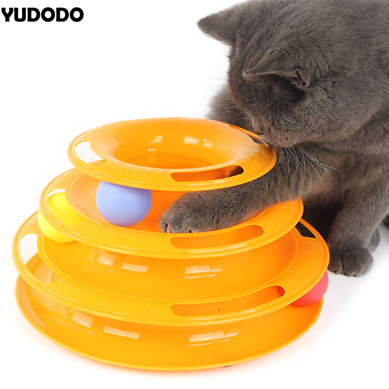Creative Funny Cat Toys Triple Intelligence Crazy Ball Disk Anti-slip Interactive Amusement Plate Play Disc Pet Kitten Ball Toy