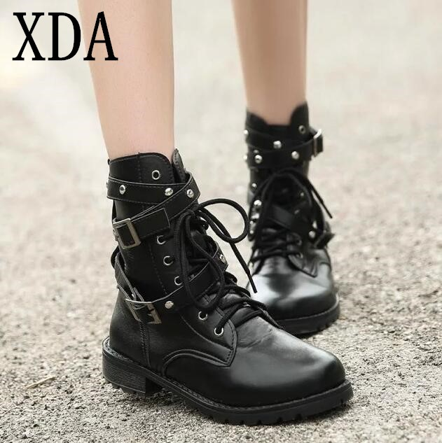 XDA 2019 Motorcycle Boots Ladies Vintage Combat Autumn Boots Army Punk Goth women boots Women Biker PU Leather Short Boots girl shoes in sri lanka