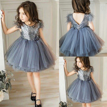 Toddler Baby Girl Princess Kid clothes round neck sleeveless Tassel Tulle Polyester backless Sequin Party Mini Dresses one piece(China)