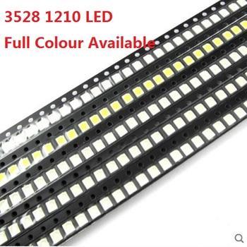 100 sztuk 3528 1210 niebieski czerwony żółty biały zielony fioletowe światło diody 1210 LED smd Super Bright wysokiej jakości 3528 LED koralik 3 5*2 8mm tanie i dobre opinie YUFO-IC Nowy 3 3 V Do montażu powierzchniowego