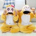 Invierno Caliente de manga Larga Pijamas de Dibujos Animados Los Niños Risita Mono Cosplay Animal Onesie Franela de Dormir Pijamas Niños Niñas