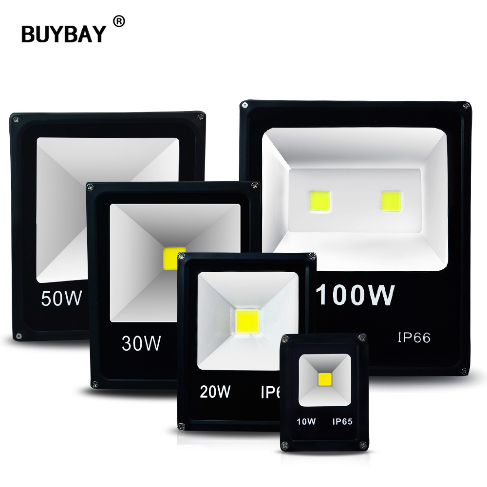 BUYBAY LED Outdoor Flood Light IP66 Waterproof 100W Spotlight 50W Flood Light For Billboard Projector 10W 20W 30W 220V Reflector