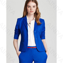 Фотография Royal Blue 2 Piece Sets Women Pant Suit Uniform Designs Formal Style Office Lady Business Suits Blazer With Pant For Work Custom