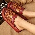 2017 Verano Zapatos de Mujer de Cuero Genuino Sandalias Planas de la Flor Hecha A Mano Recorte Cubierta Del Dedo Del Pie de Las Mujeres Diapositivas