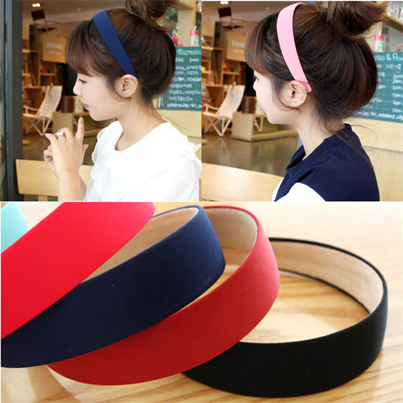 Hot Plastic Fashion Bezel Canvas Wide Headband For Woman Girl Hair Band Headwear Hair Accessories Solid 1PC