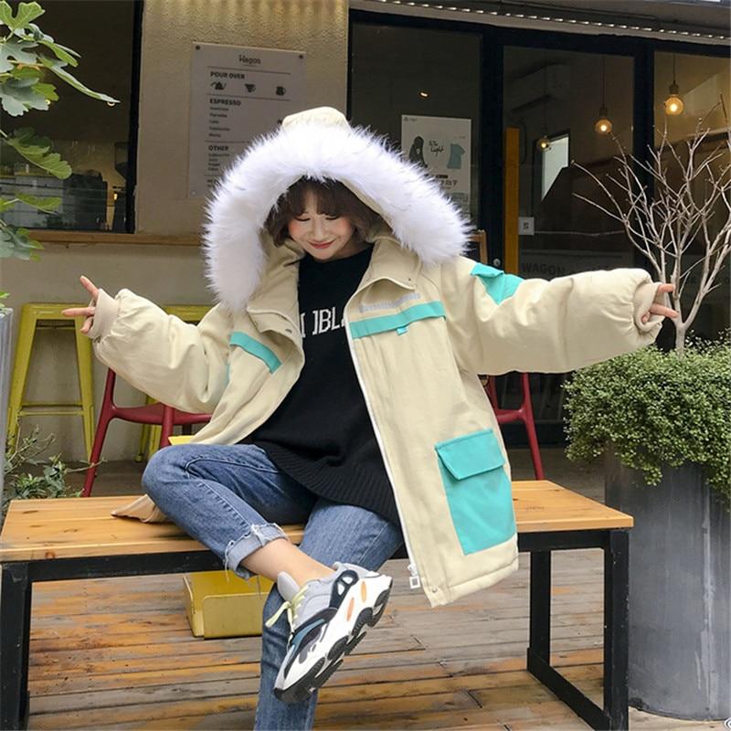 2019 New Fashion Winter Jacket Women Korean Harajuku Coat Vintage Pink Black Jackets Down Cotton   Parka   Chaqueta Mujer X91
