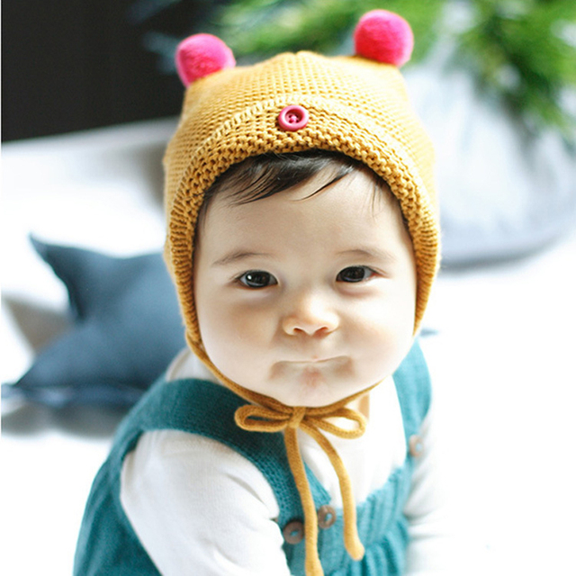 Wholesale christmas gift cute acrylic baby knit hats babygirl caps newborn photography props boina bear hat