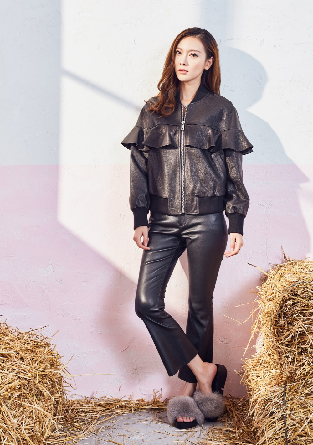 Ladies' Leather Jackets Sheepskin Outerwear With Flounced Short ...