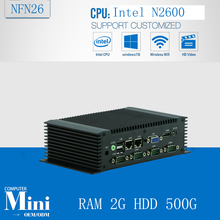 ATOM N2600 Dual Core Digital Signage Mini Computer Box PC dual ethernet fanless pc Industrial motherboard with RAM 2G HDD 500G
