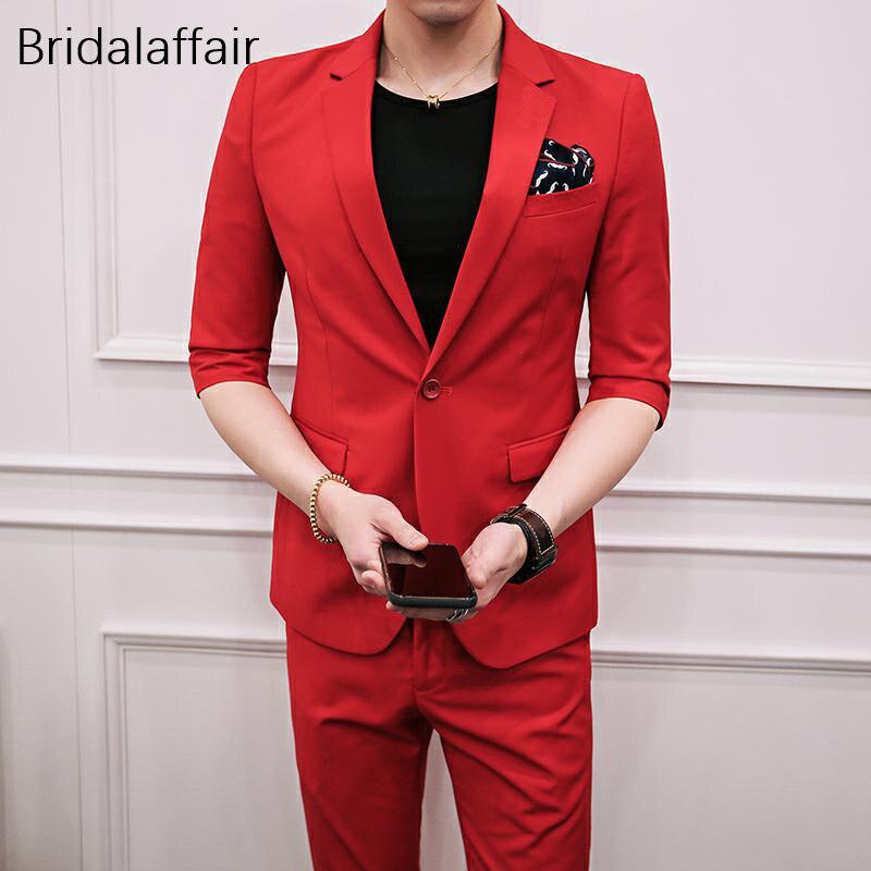 Prachtige Mannen Pakken 2018 Tailored Rode Bruiloft Prom Suits Korte Mouw Smoking 2 stuks Heren Formele Slijtage Suits Set (jas + Broek)-in Pakken van Mannenkleding op  Groep 1