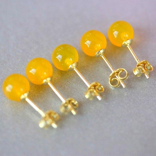925 Sterling Silver Earrings Women & Man Jewelry 6mm Yellow Stone Stud Earring Trendy Jewelry boucle d'oreille en argent