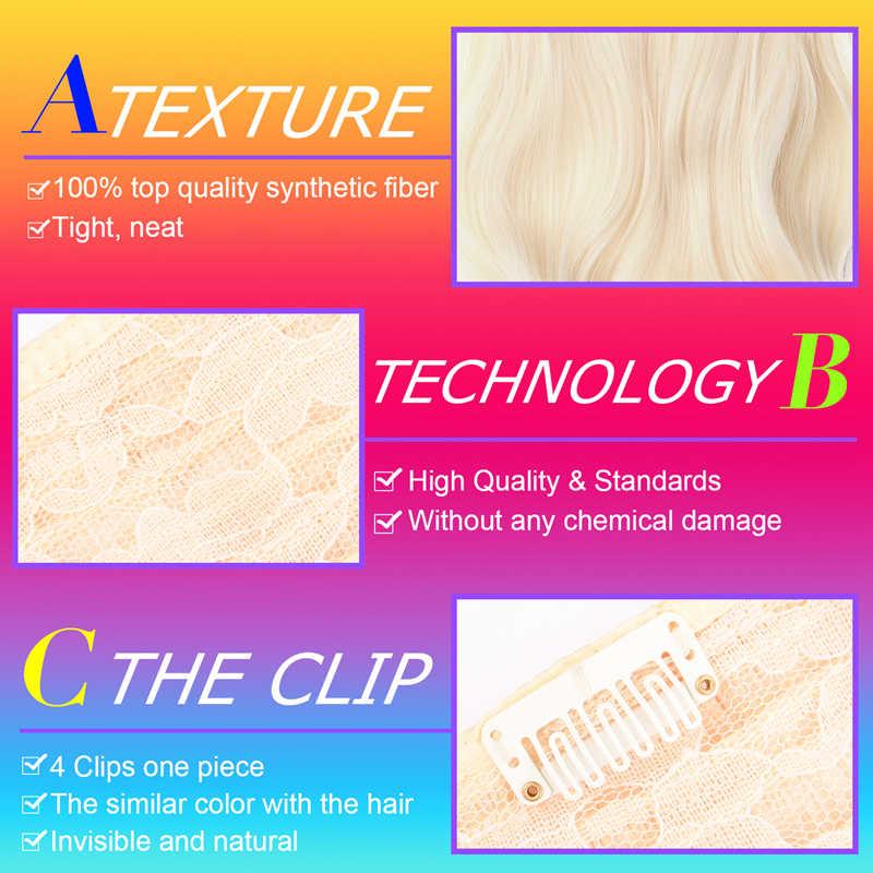 DinDong 24 inch Ondulato Capelli Extension Con Clip bionda Argento Grigio Sintetica Resistente Al Calore in Fibra di 19 Colori Disponibili con 4 Pinze