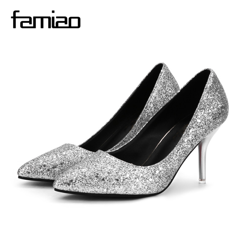 FAMIAO  2018 New Spring Autumn Bling Women Pumps Thin Heels Sexy Slim Party Shoes High Heels red bottom sliver wedding pumps 2017 free shipping siketu spring and autumn women shoes sex high heels shoes wedding shoes pumps g194