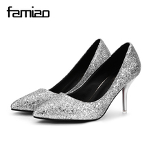 FAMIAO  2018 New Spring Autumn Bling Women Pumps Thin Heels Sexy Slim Party Shoes High Heels red bottom sliver wedding pumps