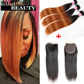 Top 10A Peruvian Virgin Hair Bundles With Closure 1B/30 Ombre Straight Hair 3 Bundles With Closure Fashion Two Tone Hair Weaves