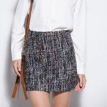 Весенняя мода блесток твид шерсть юбка Для женщин Винтаж Высокая Талия Тонкий Карандаш мини-юбка осень Для женщин S элегантный шерстяной Юбки для женщин Jupe