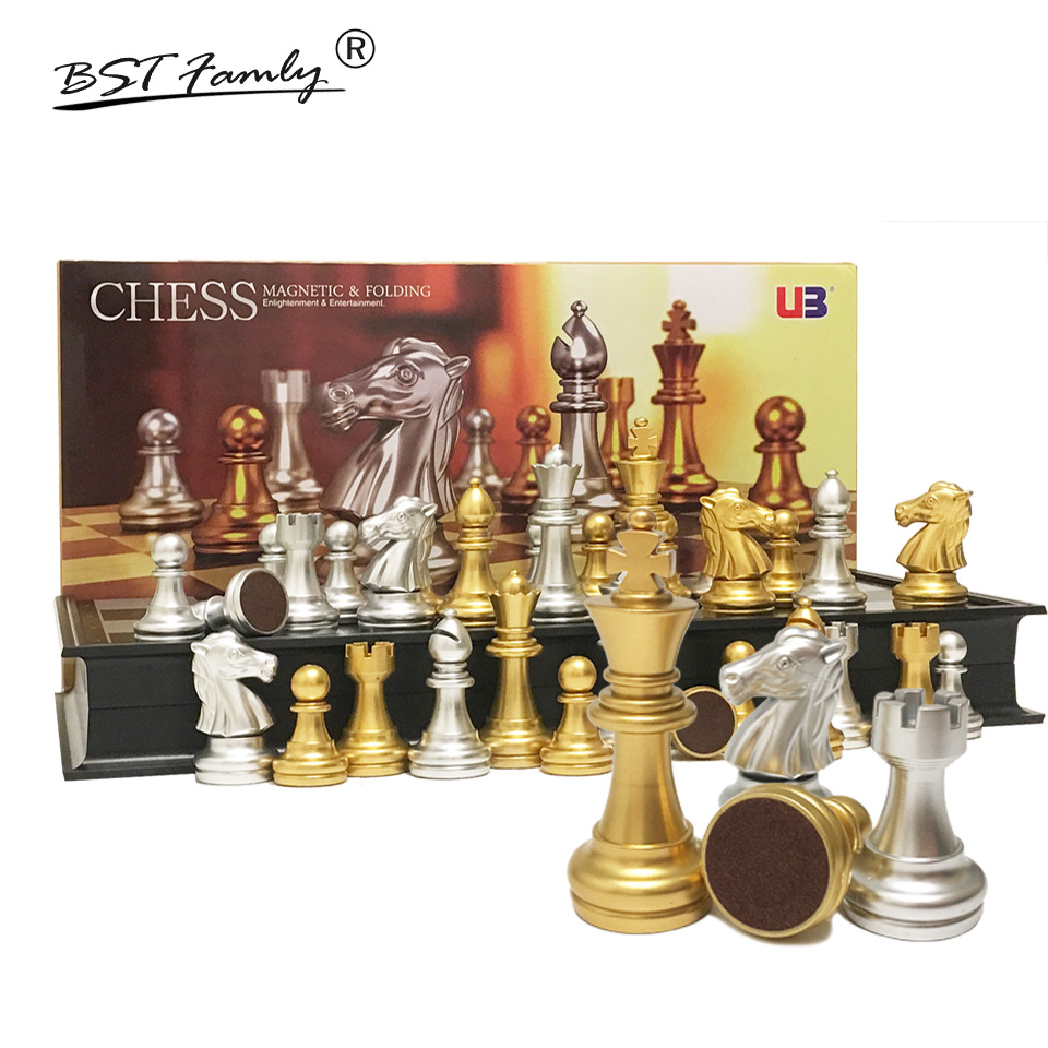 Gold Chess Pieces Folding Magnetic Travel Chess Set For Kids Or Adults Chess Board