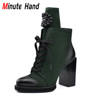 Minute Hand Autumn Winter New Fashion Lady Ankle Boots Square High Heels Lace Up Zip Women Boots With Crystal Metal Decoration