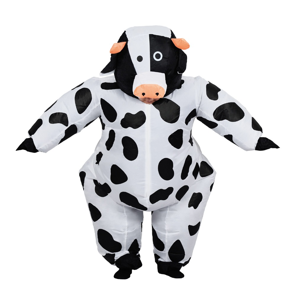 Inflatable Cow Costume for Adult Women Men Kid Boy Girl Halloween Party Carnival Cosplay Dress Blow Up Suit Animal Mascot Outfit