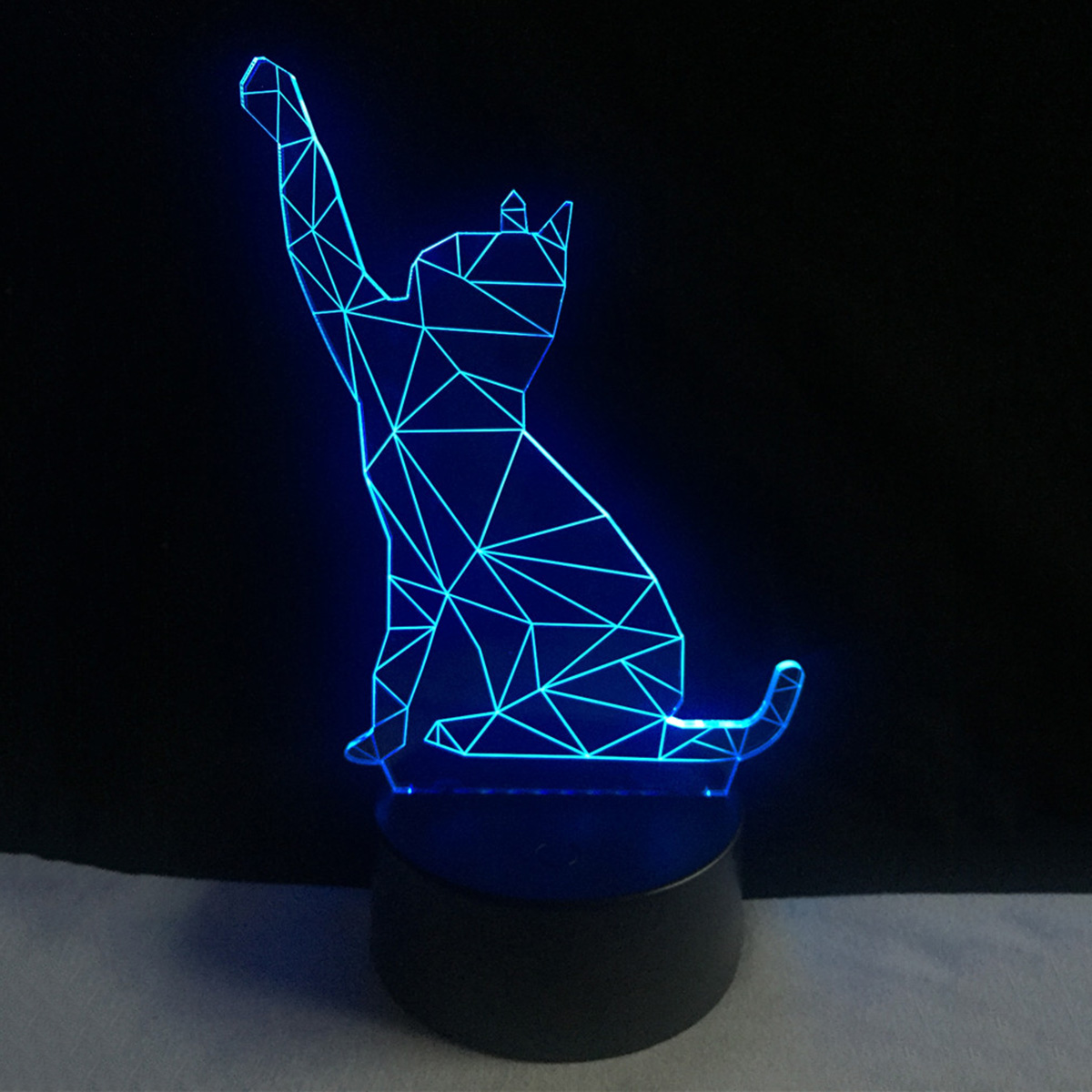 Colorful 3D cat USB LED Acrylic Night Light Touch Switch Nightlight Home Decor Creative Atmosphere Bedroom Desk Lamp festival 3d beckon cat shape touch colorful night light