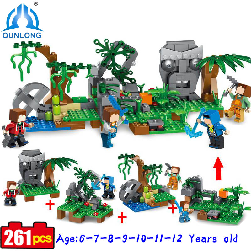 Minecraft 4 in1 Jungle Village Historical Portraits Building Blocks Compatible Legoe Minecraft Set Children Christmas Toys Gift