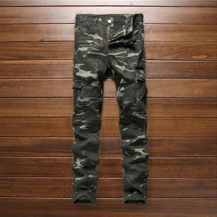 2016 Autumn New Fashion Mens Slim Fit Stretch Biker Jeans Camouflage Elastic Skinny Pencil Motorcycle Jean Pants Famous Brand fashion blue stretch jeans ripped denim trousers slim skinny new famous brand dsel patch jeans elastic mens biker jeans u701