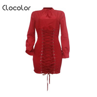 Clocolor Vrouwen Toevallige Lace-Up Vlakte Rits Hoge Taille Stand Kraag Lange Lantaarn Mouwen 2018 Moderne Vrouwen Casual Dress