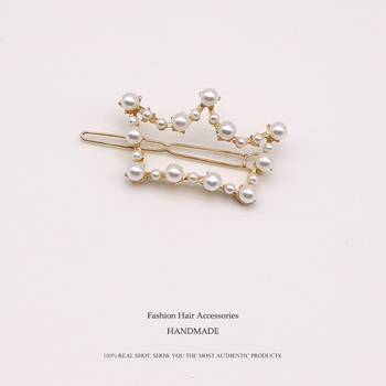 Euhra Fashion Pearl Hair Clip for Women Elegant Love Crown Five Star Barrette Stick Hairpin pearl clip Styling Hair Accessories 1pcs girls pearl hair clip fashion candy color hairclip barrette stick women hair pins bobby hair accessories elegant hairpin