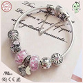 New Arrival European America Famous Silver Jewelry Pink Flower Silver Murano and Charm Series 925 Sterling Silver Bracelet