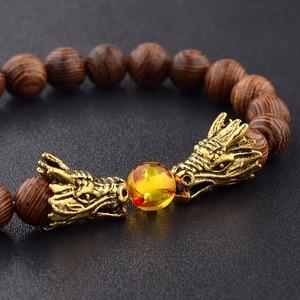 Image 2 - Bransoletka z koralików drewnianych s medytacja złoty i srebrny kolor bransoletka z koralików smoka kobiety biżuteria modlitewna joga Dropshipping